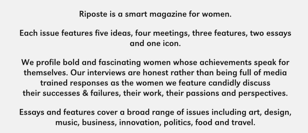 Riposte Magazine statement